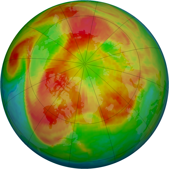 Arctic ozone map for 21 March 2004